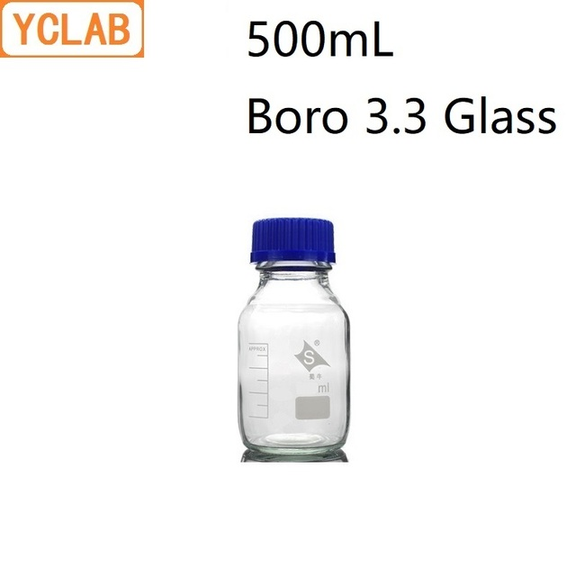 YCLAB 500mL Reagent Bottle Screw Mouth with Blue Cap Boro 3.3 Glass Transparent Clear Medical Laboratory Chemistry Equipment