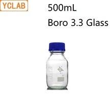 YCLAB bouteille de réactif à bouche à vis de 500mL, avec bouchon bleu verre Boro 3.3 Transparent, laboratoire médical clair, équipement de chimie