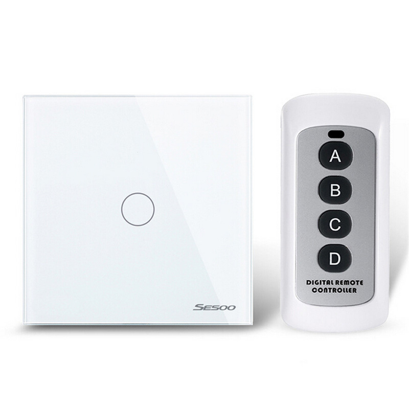 Hot Sale EU/UK Standard 1 Gang 1Way Remote Control Switch,Light Touch Switch,Wireless Remote Control Light Switch for Smart Home eu uk standard sesoo 3 gang 1 way remote control wall touch switch wireless remote control light switches for smart home
