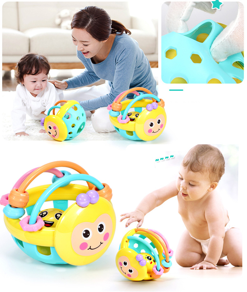 Baby Rattle Toy Soft Rubber Cartoon Bee Hand Knocking Dumbbell Educational Toys