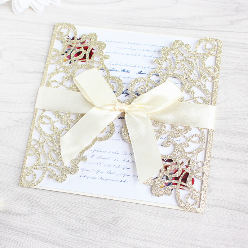 Glittery flower laser cut wedding invitations with envelop insert card free shipping