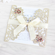 Glittery flower laser cut wedding invitations with envelop insert card free shipping недорого