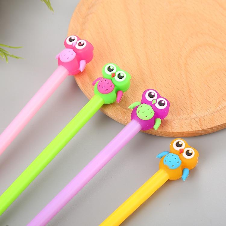 36PCS Cartoon Jelly-coloured Silica Gel Pen Cute Stationery Owl Water Pen Creative Signature Pen Kawaii School Supplies