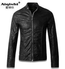 Free shipping spring autumn leather clothing men s slim stand collar short PU motorcycle leather jacket