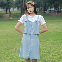Summer Preppy Style Women dress Bow Pricing Less 5975 Junior Middle School  Students Dresses Light Blue T-shirt 9175 8c34b3eaf54d