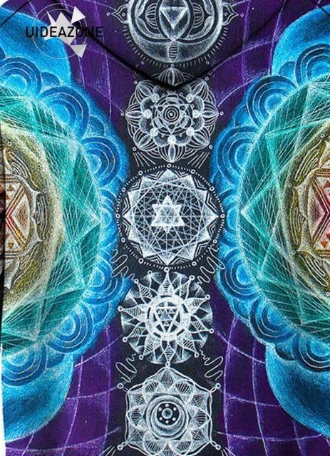 UIDEAZONE Psychedelic Hoodies Trippy Visionary Artwork Rainbow Mandala  Chakra Art Sublimation Print Hoodies Men Plus Size 3XL