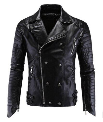 Fashion Men's Winter Leather Jackets Faux Jacket Korean Stylish Slim Fit Coats Men Moto Skull Suede Jacket For Men ,m-5xl ,pa2
