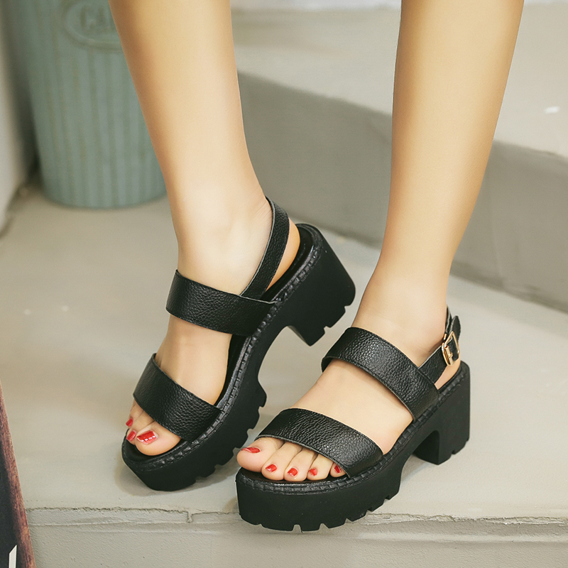e90090ff56df AINIDO Genuine Leather Shoes Women Black White Sandals Summer Thick Heel  Platform Casual Female Sandal-in Women s Sandals from Shoes on  Aliexpress.com ...