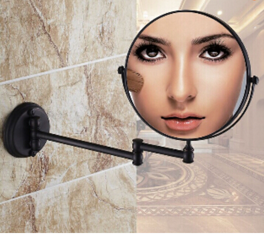 High quality 8 Black antique Makeup mirrors 1x3 magnifier Copper Cosmetic Mirror Bathroom Double Faced Wall mounted Bath Mirro
