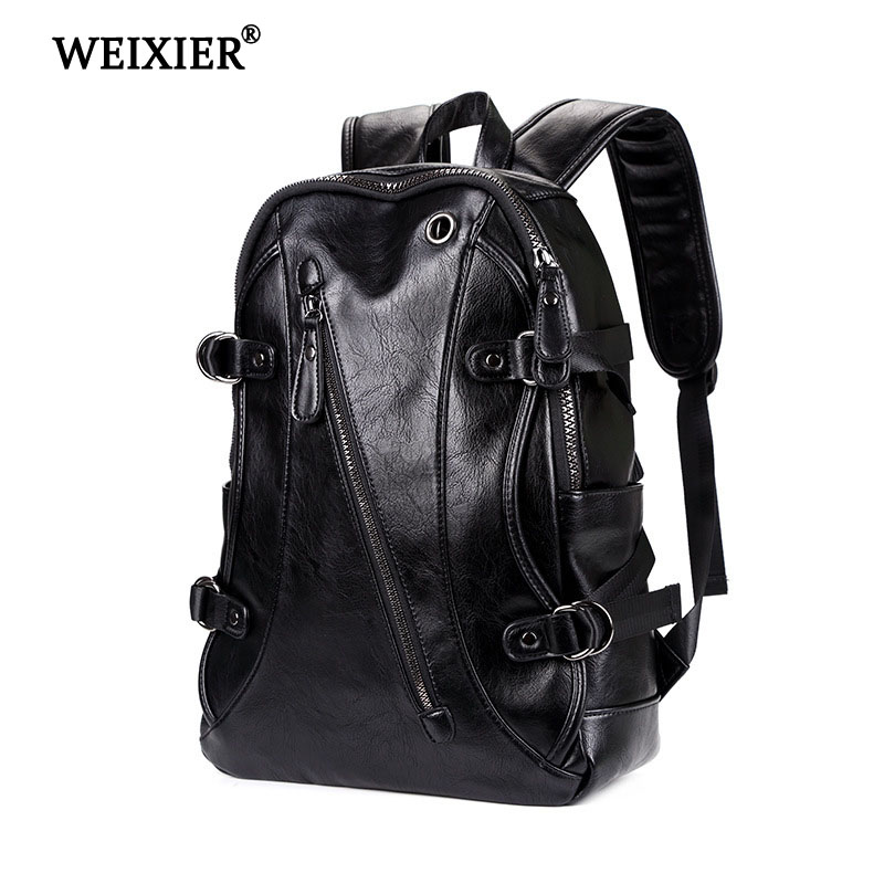 WEIXIER 2019 Teen Mens Solid Color PU Backpack Large Capacity School Students High Quality Long Distance Travel Computer BagWEIXIER 2019 Teen Mens Solid Color PU Backpack Large Capacity School Students High Quality Long Distance Travel Computer Bag