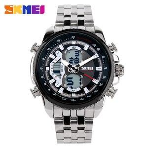 Image 2 - SKMEI גברים ספורט שעונים Led אנלוגי דיגיטלי שעוני יד עמיד למים נירוסטה שעון אופנה מזדמן Mens הצבאי קוורץ שעון