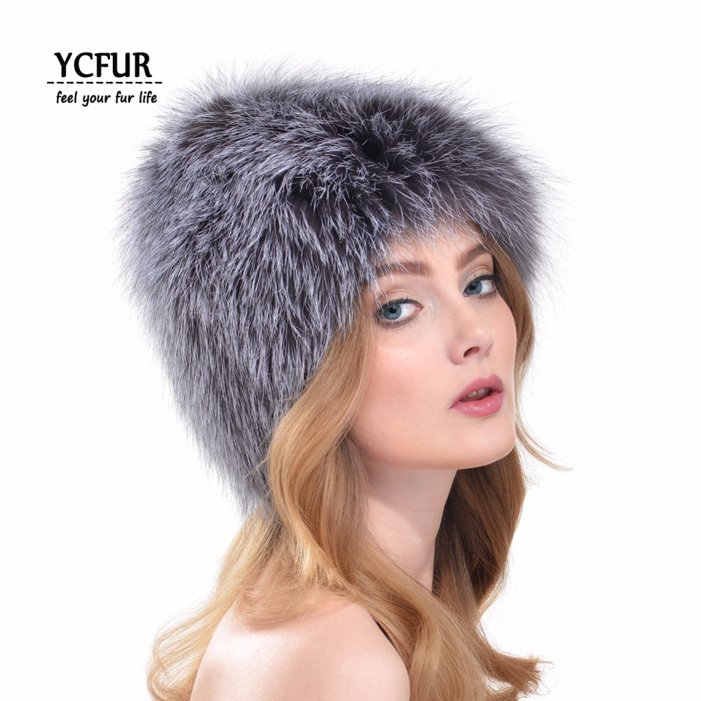 ФОТО YCFUR New Arrival Fashion Women Fur Hats 2016 Winter Real Fox Fur Beanies Hats Knit Natural Silver Fox Fur Caps Winter YH170
