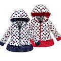 Minnie jaqueta de inverno para a Menina Quente Imitação de couro Com Capuz windbreak Casacos Crianças roupas de Bebê de Algodão Crianças Jaquetas Casaco
