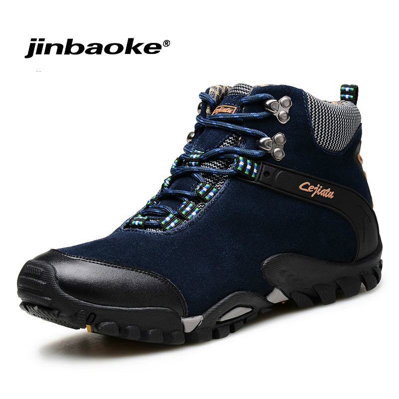 Winter Boots Leather Waterproof Man Hiking Boots Outdoor Mountain Climbing Shoes Men Snow Boots Brand Hiking Shoes Hunting Shoes