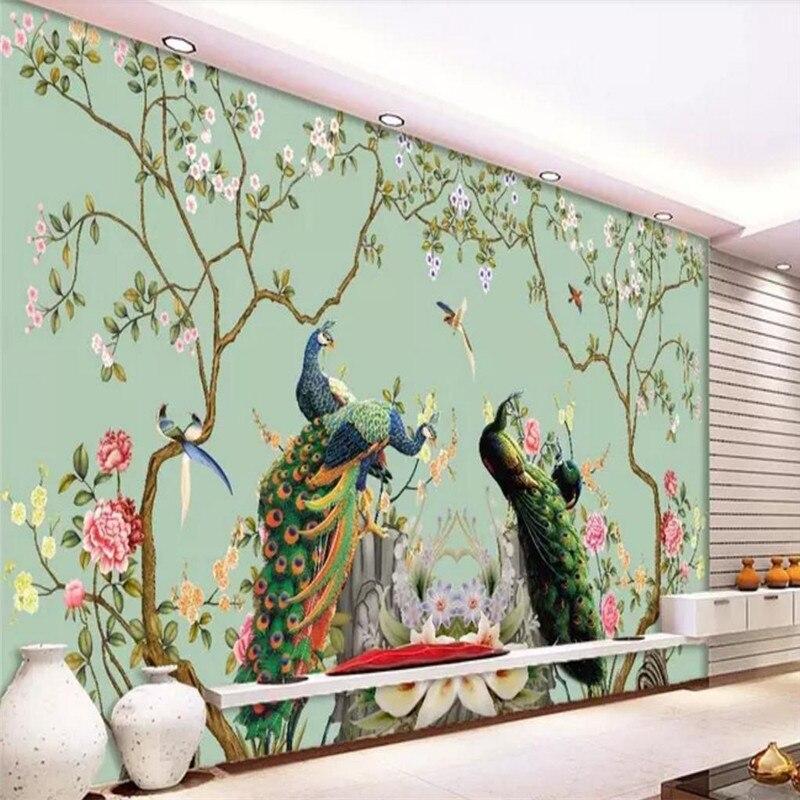 Customized high-end wallpapers, flowers, birds, peacocks, backgrounds, murals, waterproof materials