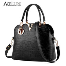ACELURE Women Famous brand designer Luxury leather handbags women messenger bag Ladies crocodile pattern Shoulder bag Crossbody