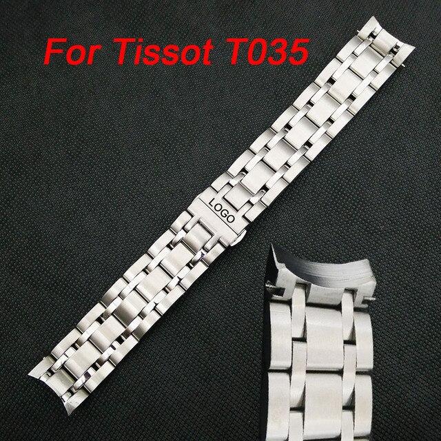 a606434dd2a1 Curvada Fin de reloj acero inoxidable para Tissot 1853 Couturier T035  18 20 22 23 24mm banda las mujeres los hombres