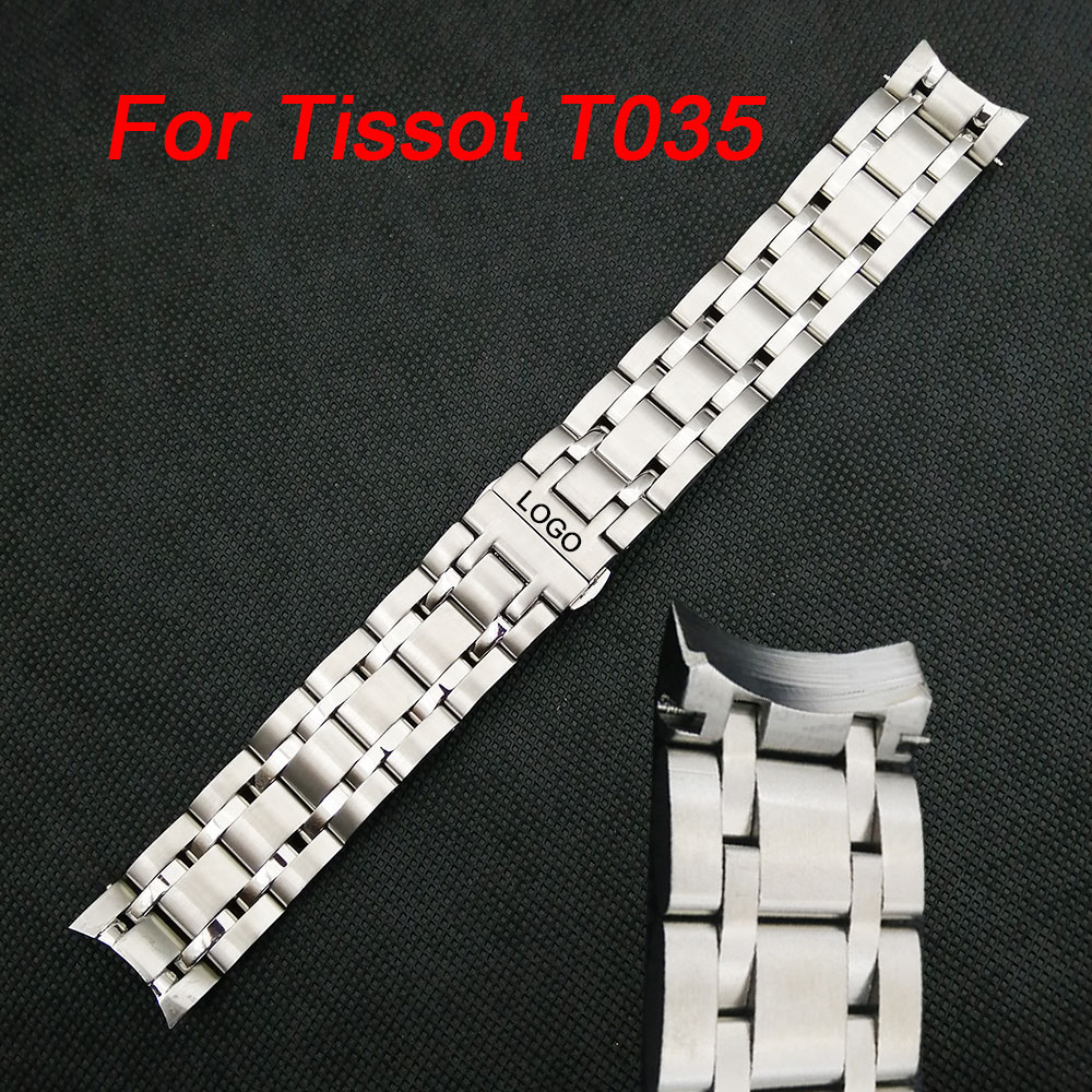 Curved End Stainless Steel Watchband For Tissot 1853 Couturier T035 18/22/23mm Watch Band Women Men's Strap Bracelet