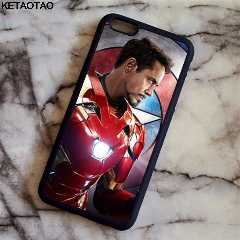 KETAOTAO Charming Avengers Iron man Phone Cases for iPhone 4S 5C 5S 6 6S 7 8 Plus X for Samsung S8 Case Soft TPU Rubber Silicone