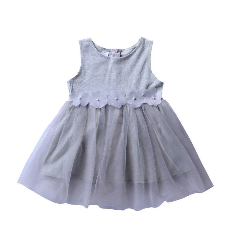 Летнее серое кружевное платье принцессы без рукавов для девочек, хлопковое платье принцессы без рукавов