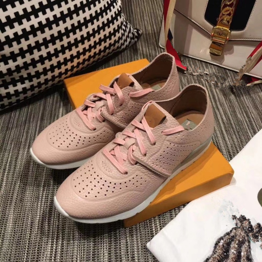 2019 Spring New Designer Wedges pink Shoes Female breathable Cow leather Sneakers Women Tenis Feminino Casual