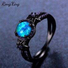 Anillos de flores de estrella de ópalo de Fuego Azul RongXing para mujeres Vintage oro negro lleno de anillo de circón púrpura joyería de boda RB1349