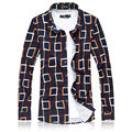7XL Ling Plaid Casual Men Blouse Chemise Homme Mercerized Cotton High Quality Slim Blusa Masculina Elastic Formal Camisa Social