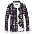7XL Ling Xadrez Homens Casuais Blusa Chemise Homme Mercerizado Algodão de Alta Qualidade Magro Blusa Masculina Elásticas Formais Camisa Sociais