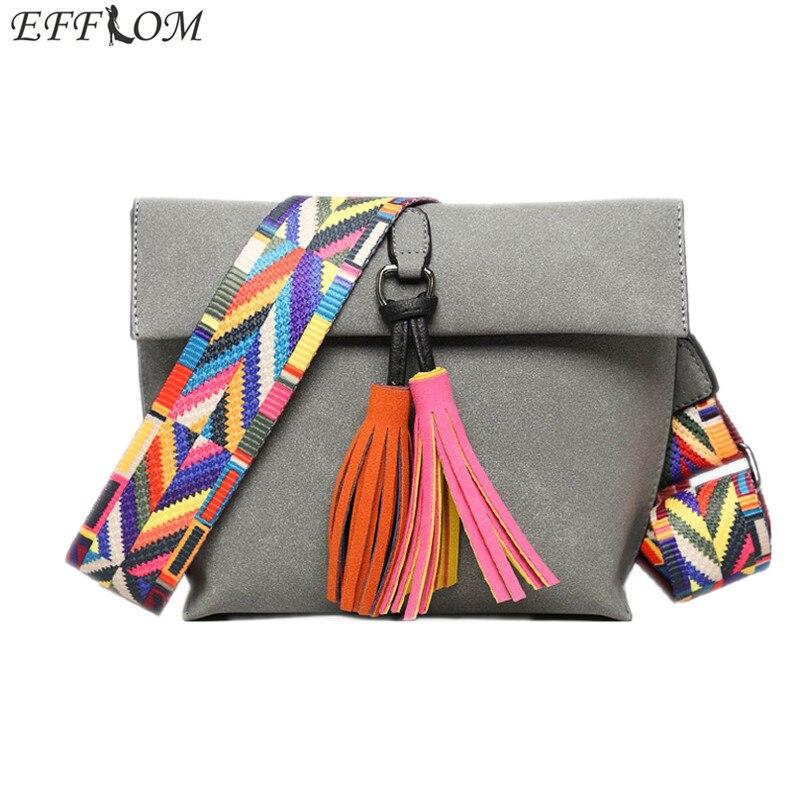 High Fashion Brand Lady Bag Leather Suede Messenger Bag Fringe Vintage Embroidered Strap Shoulder Bag Women Tassel Crossbody Bag