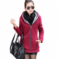 2017 Women Fleece Hooded Jackets Autumn Winter Slim Hoodies Sweatshirts Long Sleeve Warm Fur Long Coat