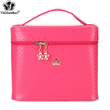 Fashion Crown Make Up Box Large Capacity Travel Beauty Case Famous Brand Leather Makeup Bag Portable Professional Makeup Case цена и фото