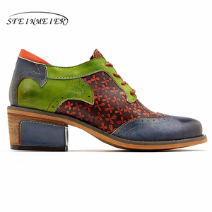 Image 3 - Women oxford pumps shoes vintage leather ladies lace up Spring oxford heels shoes for women green shoes woman 2020 summer