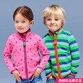Caliente-venta de Primavera y Otoño hoodies de Los bebés de Los Niños Niños Niño niña de la raya de lana chaquetas y abrigos para niños niños sudadera