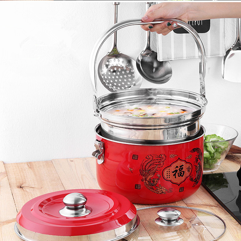 Stainless Steel Cooking Pot 7L Silver 7.8L Red/Yellow Pot Food Processor Cooking pot With 2 Pots yoga nasal washing pot light yellow red