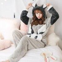 Winter Women Coral Velvet Pajamas Sets 2018 Thick Flannel Long Sleeve Warm Cartoon Pyjamas Cute Female Pants Rabbit Sleepwear
