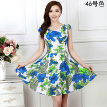 2016 New Fashion Women Summer Milk Silk Dress Short Sleeves Vintage Printed Flower Print sundress Casual sexy bodycon Dresses