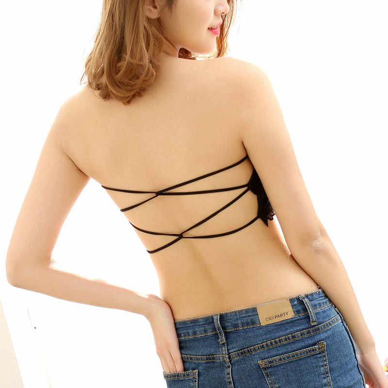 45d91c16a9d 2018 Women Lace Strapless Tube Top Cross Sexy Bra Crop Tops Blusa De Renda  Padded Seamless
