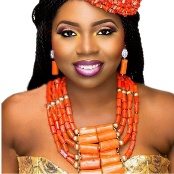 Dudo Jewelry Nature Orange African Bridal Coral beads Jewelry Set For Nigerian Women 5 Layers Jewellery Set Free Shipping 2018