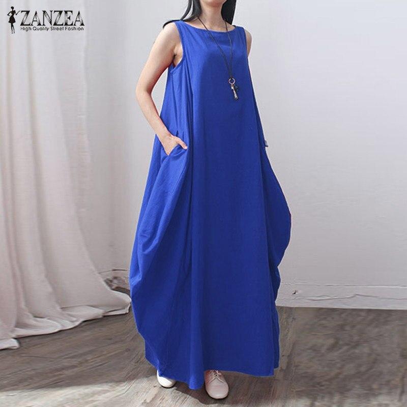 5 Colors ZANZEA Fashion 2016 Women Cotton+Linen Dress Casual Loose Long Maxi Dress Elegant Vestidos Plus Size Chinese Style