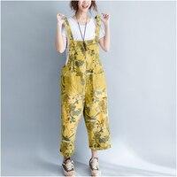 2018 Summer Plus Size Loose Pants Women Fashion Ankle Length Print Bib Overalls