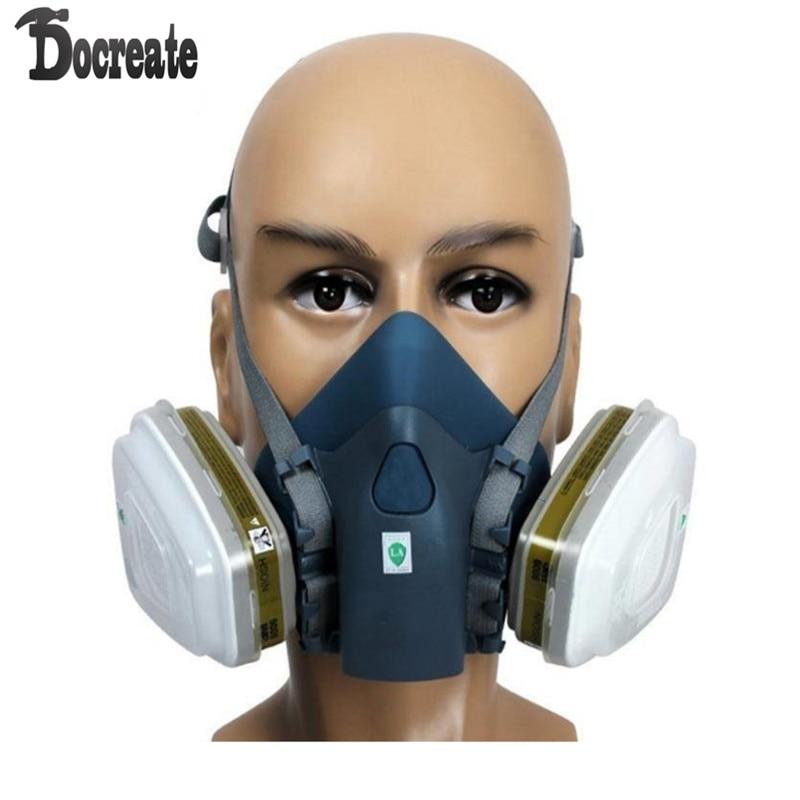 7502 Silicone Half Face Respirator Painting Spraying Face Gas Mask 7 Pcs Set 3m 6300 6003 half facepiece reusable respirator organic mask acid face mask organic vapor acid gas respirator lt091