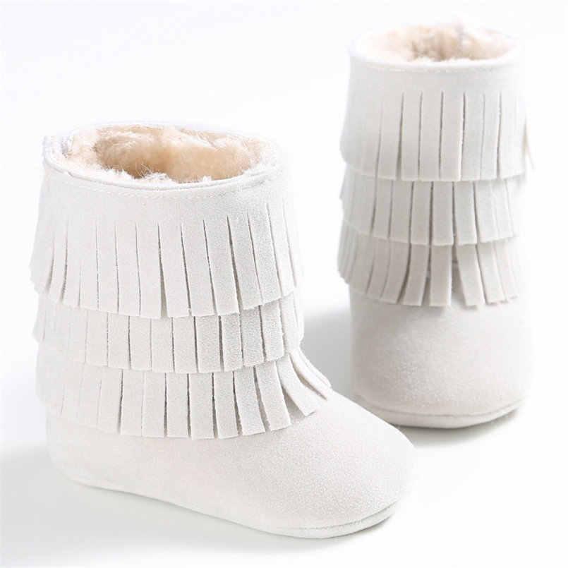 2018 модная одежда для детей, Утепленная одежда двухслойные брюки с кисточками на мягкой подошве для снежной погоды; полусапожки с мягкой детский пинетки для младенцев; 20