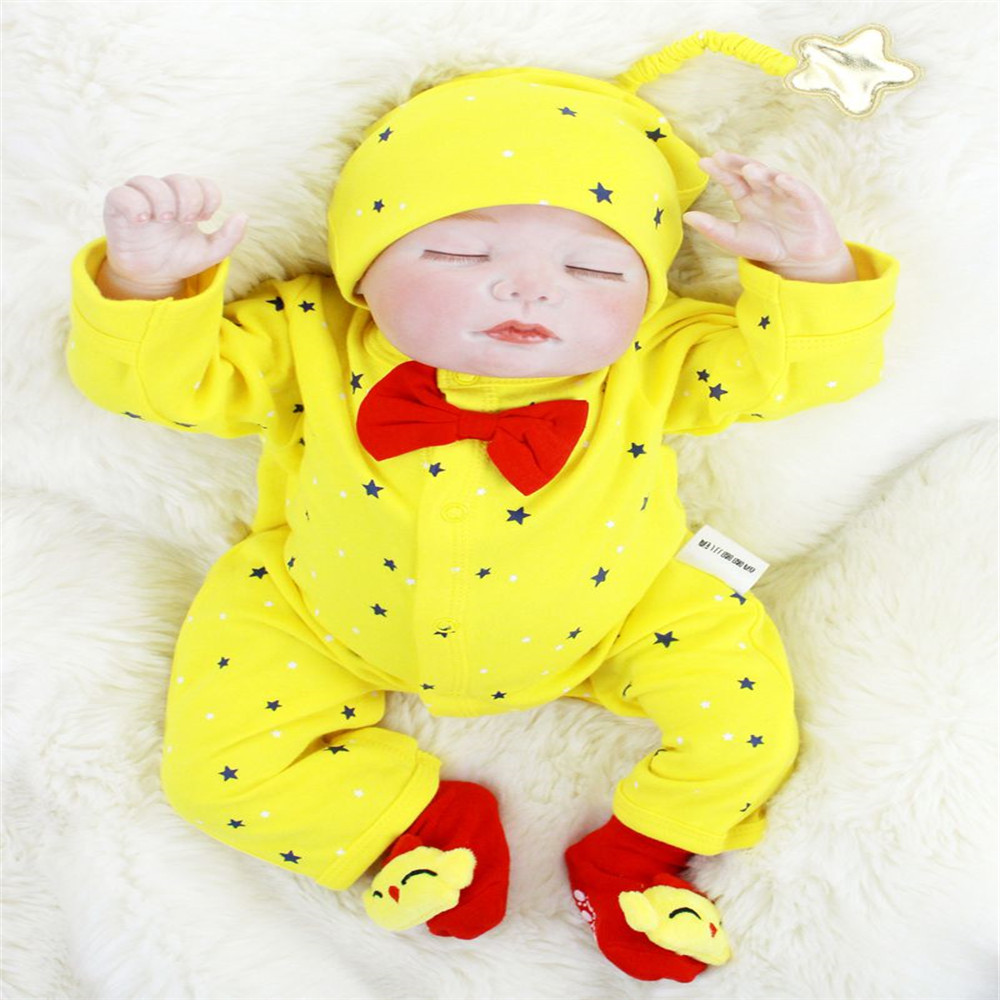 SanyDoll 22 inch 55 cm Silicone baby reborn dolls, Yellow conjoined clothes lovely sleeping doll for birthday giftsSanyDoll 22 inch 55 cm Silicone baby reborn dolls, Yellow conjoined clothes lovely sleeping doll for birthday gifts