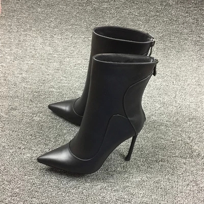 2017 New Arrival Promotion Spring Autumn Black Dress Shoes Women Pointed Toe Stiletto Heel Motorcycle Boots Vintage Ankle Boots