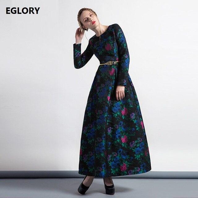 c75a276e834 XXXXL Mother Female Party Ball Gowns 2017 Autumn Winter Vintage Jacquard  Prints Long Sleeve Empire Dress