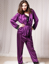 LQ8247 Three pieces one set pyjamas women super deal sexy nightgown newest black lace printed purple lingerie for sex
