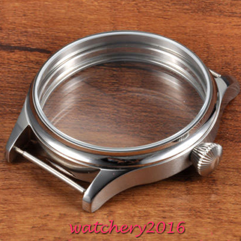 44mm Corgeut polished stainless steel watch case High quality hardened mineral glass fit eta 6497 6498