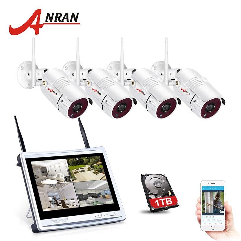 ANRAN 4CH Wifi CCTV System 12 LCD NVR Kit P2P 960P HD IR Night Vision Surveillance IP Camera Outdoor Security Camera System