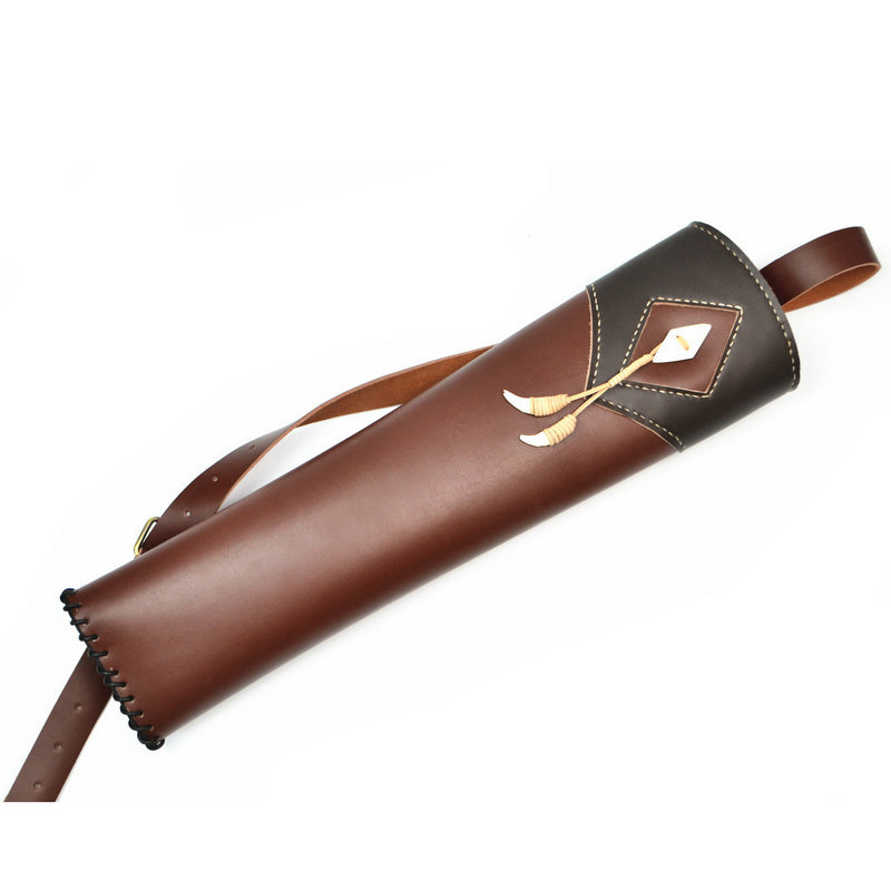 New Hand Crafted Single shoulder back type Top Head Layer Cowhide Leather Archery Quiver Black+Brown holding for Hunting
