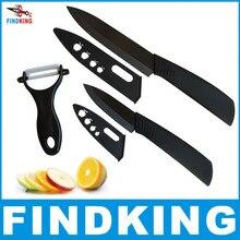 FINDKING 2018 Best Ceramic Knife Sets quality black blade ceramic knife 3pcs Gift Set 3' 5 inch with peeler covers Kitchen Knife chic chefs horizontal ceramic peeler black